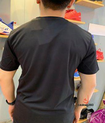 Áo cầu lông yonex đen logo xanh lá